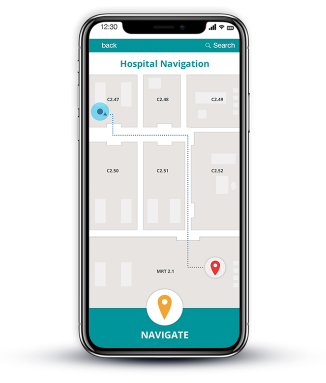 Hospital mobile wayfinding app