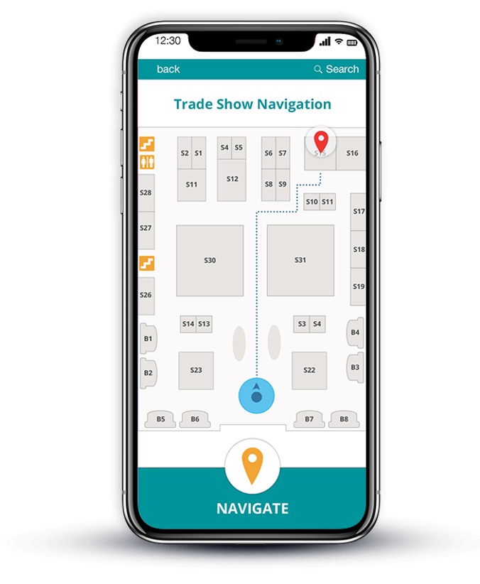 indoor navigation for events phone mockup