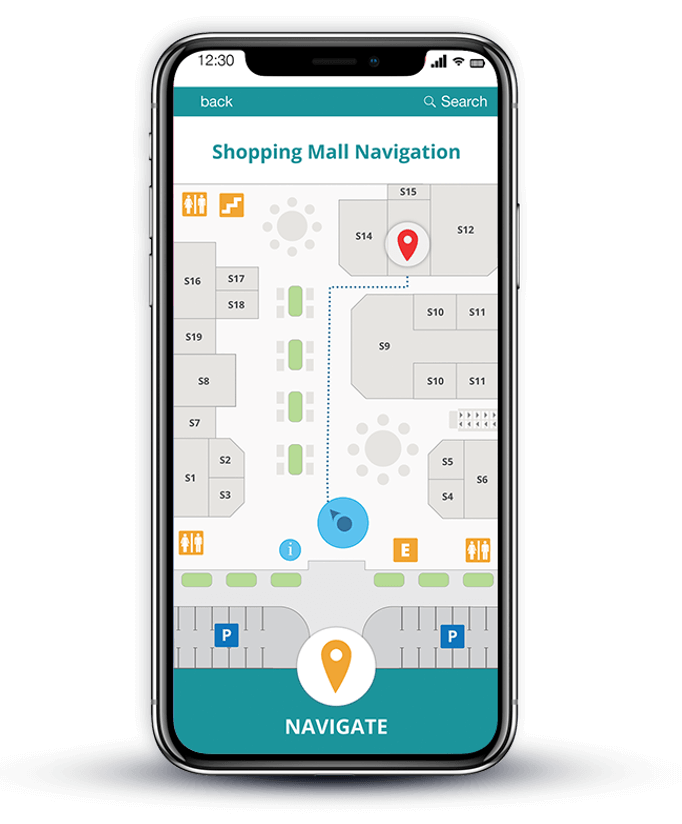 indoor positioning for shopping malls phone mockup